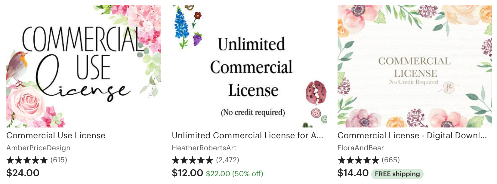 Sell SVGs on Etsy commercial license examples